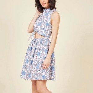 MODCLOTH floral cut-out shirt dress size XS